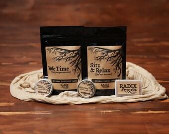New Mom Gift Set - Postpartum Herbal Tea, Healing Salve, Nipple Balm, Postnatal Sitz Bath, Natural Soap - Loose Leaf Tea, Nursing, Pregnancy