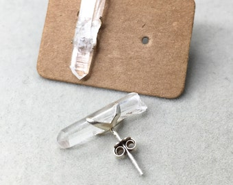 Quartz crystal points ,Studs Earrings, Rough, Raw Stone, Sterling Silver, 925