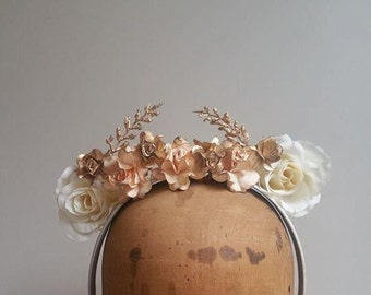 Flower Crown - Peach and Gold Fascinator