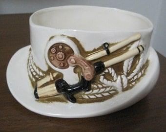 Lefton, Rod & Reel Ceramic Hat, Candy Dish, Decorative, Brown on White Design, 1984, Vintage