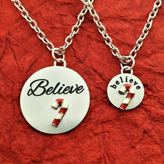 Candy Cane Charms, I Believe in Santa Clause Gifts, Believe Charm Necklace, Holiday Jewelry, Believe Charms, Christmas Gift for Wife