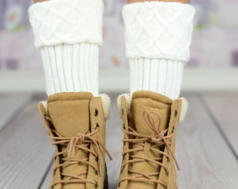 White Mosaic Cable Knit Boot Cuffs