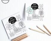 DIY Valentine Card, Printable Valentine Card Kids, Bunny Valentine Card, Coloring Card, Classroom Valentines, Valentines for School