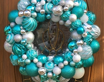 Front Door Christmas Ornament Wreath in Aqua and Silver - Ornament Wreath - Christmas Wreath - Holiday Ornament Wreath - Christmas Decor