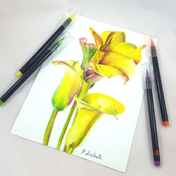 Little picture with yellow callas, original painting by Francesca Licchelli, ideal decoration for traditional home decore, present idea.