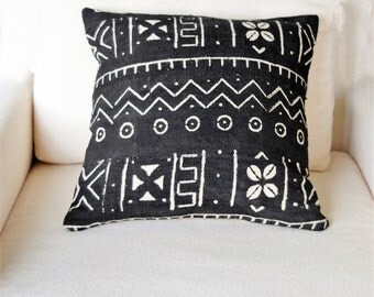 Black and White Mud Cloth Pillow Cover, Bohemian Pillow, Ethnic Pillow Cover, African Pillow Case, Mudcloth Pillow Case