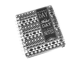 Black and white mini notebook spiral bound, note book, note pad, mini journal, tabs, plastic cover, aztec pattern, perfect day, lined paper