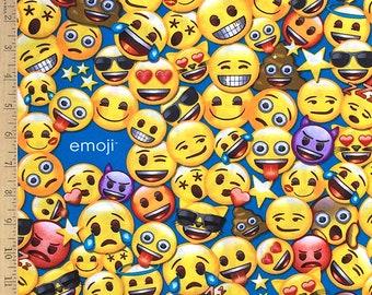 Emoji Licensed fabric, Emoji's on blue, All the Emoji Cotton fabric by the yard on Aqua by David Textiles, 100% Cotton fabric
