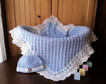 crochet baby blanket set, baby boy blanket and hat set, baby shower gift set