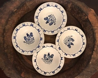 Vintage Poppytrail Metlox Rooster & Hen with Baby Chicks Blue and White Berry Bowls Set of 4 | Made in California