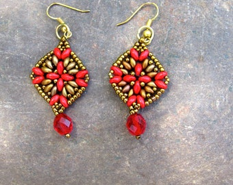 Square red and gold drop earrings