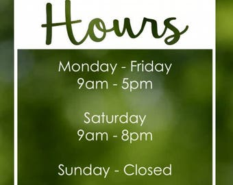 Custom Store Front Business Hours Vinyl Decal