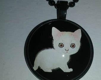 White Kitten Pendant