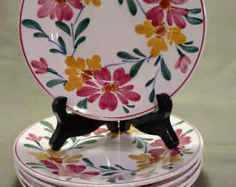 Set of 5 Hand Painted German Floral Design Plates Wittenberg