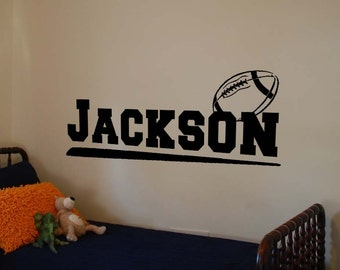 Boys Football Decals Boys Name Decals Vinyl Wall Decals Personalized Name Decals Custom Vinyl Lettering