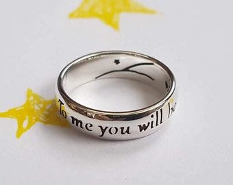 Antoine de Saint-Exupéry, quote ring, Adventure, Love, Friendship, Unique, Personalized ring, 925 sterling silver, Handmade