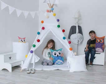 READY TO SHIP! White teepee with poles Entirely white tepee tent for kids Nursery Play tent Classical indoor wigwam Tipi playhouse