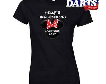 Minnie Hen Weekend Customisable | Slogan Hen Night T-Shirt | Ladies | Funny Top | Hen Party