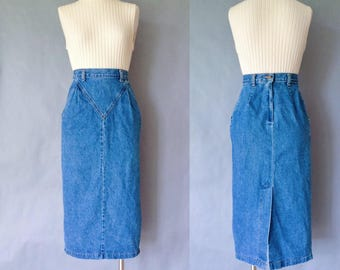 Vintage denim minimalist pencil skirt women's size XS/S