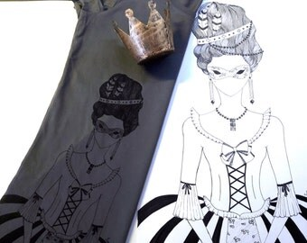 tshirt Marie Antoinette, queen of France, luxury design, made in italy