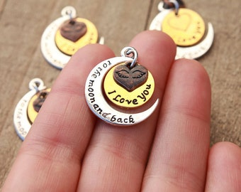 1 PIECE I love you to the moon and back pendant, i love you to the moon charm, i love you charm, silver gold and bronze pendant B0083000