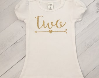 """Second Birthday Shirt, Any Color """"Two"""" Birthday Shirt or Bodysuit/Second Birthday Shirt with Arrow"""