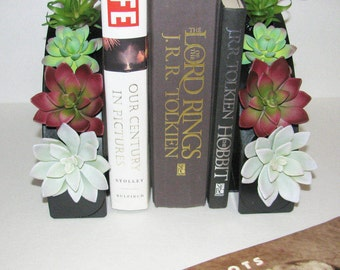 Gift for Him, Bookends with Succulents, Desk Accessory, Faux Succulent Planter, Modern Arrangement, Unique Succulent Gift