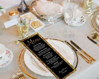 Black and Gold Glitter Wedding Menu Card, Dinner Party Menu, DIY Menu Card, Instant download, Printable wedding menu, code-031