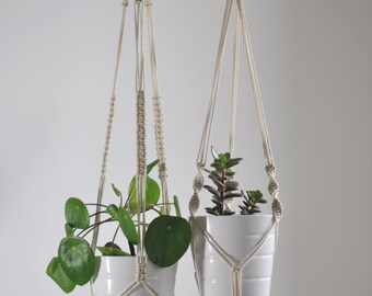 set of macrame plant hangers, 2 macrame plant holders, modern hanging planter, plant pot holder, double hanging planter, nursery boho decor