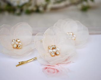 Organza  Bridal Flower Hair Clips, Wedding Hair Accessories, Bridal Hair Piece, Chiffon Flower Hair Pins, Wedding Flower Clip, Headpiece