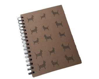 Bronze Gold Glitter Chihuahua Dog A5 Brown Kraft Lined Spiral Notebook Journal