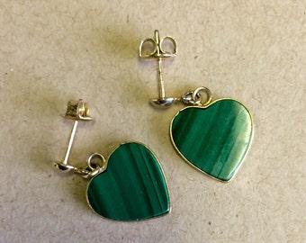 Green Malachite Earrings, Malachite Earrings, Gold Heart Earrings, Gold Post Earrings, Vintage Malachite Earrings,
