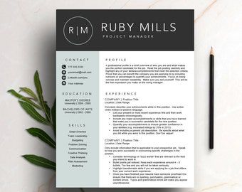 Creative Resume Template for Word & Pages (1 and 2 page resume, cover Letter, icon set) Modern Resume | Instant Download CV template