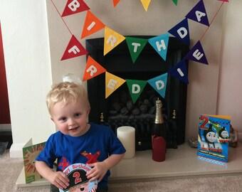 Happy Birthday Bunting felt banner / Garland Rainbow colours - use every birthday!