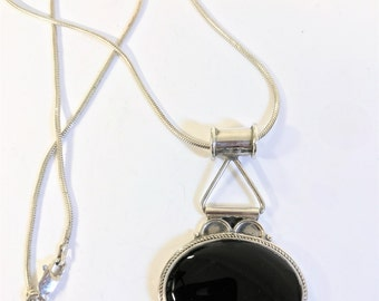 A Beautiful Sterling Silver & Black Onyx Pendant on Sterling Silver Chain