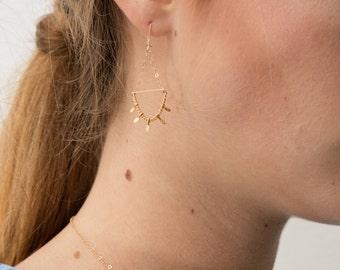 boucles d'oreilles dorées à l'or fin 24 carats Léna