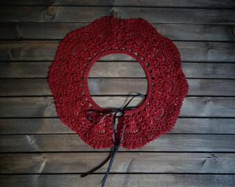 Burgundy crochet collar, Detachable collar, handmade collar, Gift for her
