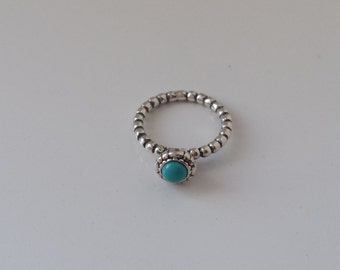 Silver detailed jade topaz green jewel ring size 6