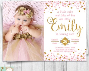 Pink Princess First Birthday Invitation, Pink & Gold Confetti Invitation, Girl's Birthday Invite With Picture, Printable Card, Digital Card