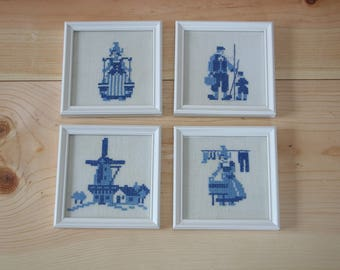 Delft blue hand embroiderd paintings