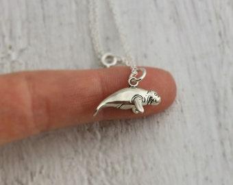Manatee Necklace - Sterling Silver Manatee Charm Necklace - Sea Cow Necklace - Manatee Jewelry - Florida  Manatee - Florida Beach Jewelry