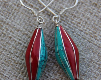 Turquoise Coral Sterling Silver earrings