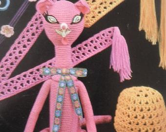 1970's knitting and crochet pattern, original not Pdf, Emu 6454, Cat bottle cover, crochet belts, crochet hat, crochet chokers and ear-rings