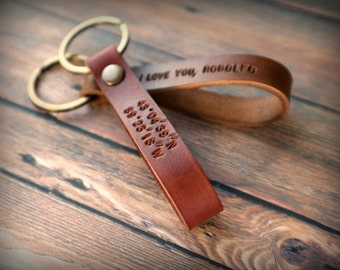 Leather keychain, hand stamped Initial key fob, leather personalized gifts for His and Hers, leather gift fisherman