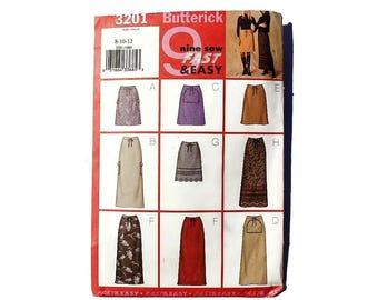 2000 Sewing Pattern - Butterick 3201 - A Line Skirt