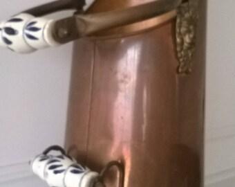 Large Vintage Copper Coal Scuttle With Delft Porcelain Handles