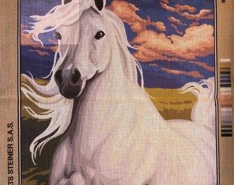 "Royal Paris canvas antique ""The white Stallion"" horse galloping stallion 142 496 47 cm x 37 cm new white"