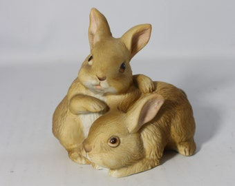 Porcelain Brown Bunnies Figurine Easter Decor Homco Taiwan