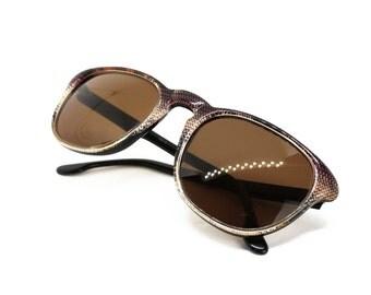 MISSONI M 307 wayfarer sunglasses snakeskin & black, 1970s shades made in Italy, Optic deadstock product