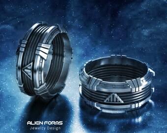 geek wedding ring, Star wars ring, darth vader ring, geek engagement ring, sci fi ring, nerd ring, geek silver ring, space ring, father gift
